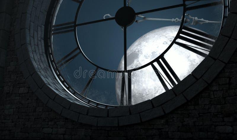 Orologio e luna Backlit antichi illustrazione di stock