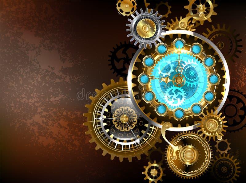 Orologio insolito con gli ingranaggi Steampunk illustrazione vettoriale