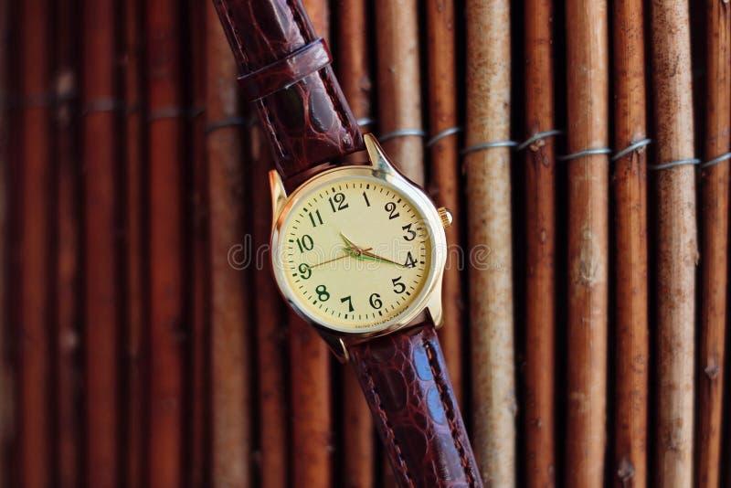 Orologio isolato del quarzo e dell'oro con la cinghia di cuoio fotografia stock libera da diritti