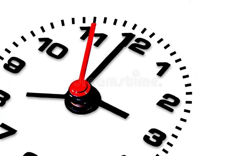 Orologio isolato sopra priorità bassa bianca: scadenza immagine stock libera da diritti