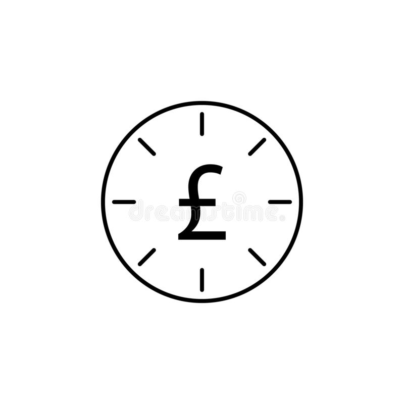 Orologio, libbra, icona di termine Elemento dell'illustrazione di finanza I segni e l'icona di simboli possono essere usati per i illustrazione vettoriale