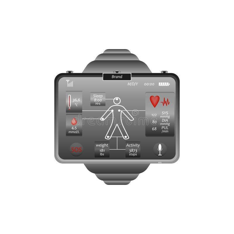 Orologio medico con la definizione dei bioparameters illustrazione vettoriale