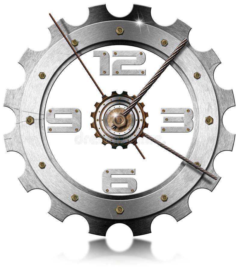 Orologio metallico dell'ingranaggio illustrazione di stock