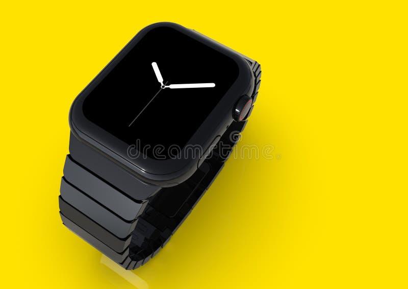 Orologio 4, 44mm, smartwatch d'acciaio nero, visualizzatore analogico di Apple illustrazione vettoriale