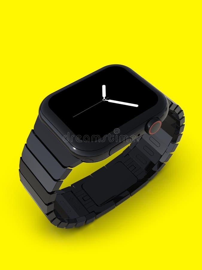 Orologio 4, 44mm, smartwatch d'acciaio nero, visualizzatore analogico di Apple royalty illustrazione gratis
