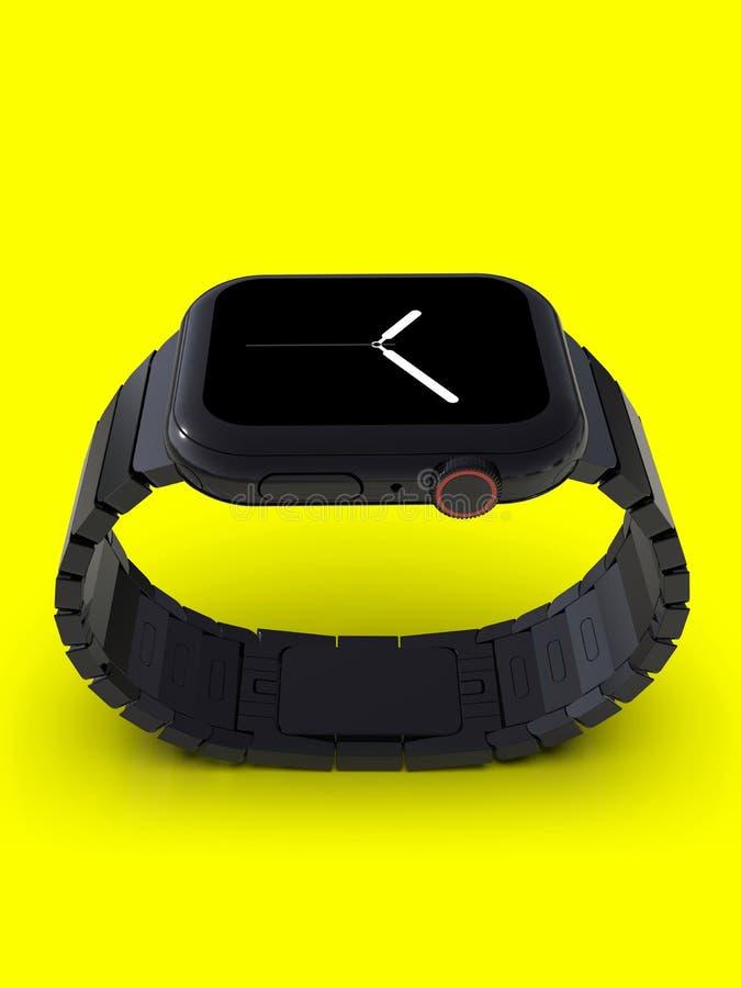 Orologio 4, 44mm, smartwatch d'acciaio nero, visualizzatore analogico di Apple illustrazione di stock