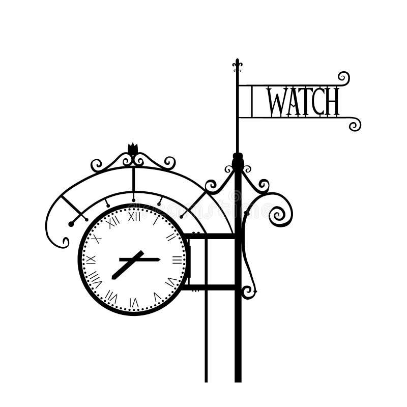Orologio numerale della via d'annata, illustrazione di vettore isolata su fondo bianco, siluetta monocromatica con spazio per illustrazione vettoriale