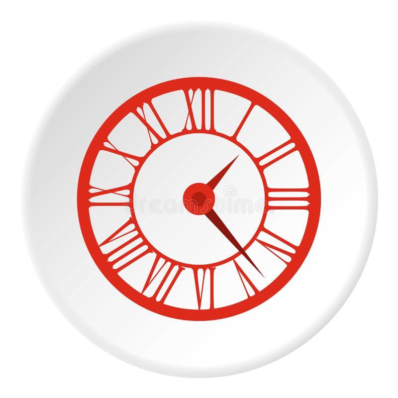 Orologio rotondo con l'icona di numeri romani, stile piano royalty illustrazione gratis