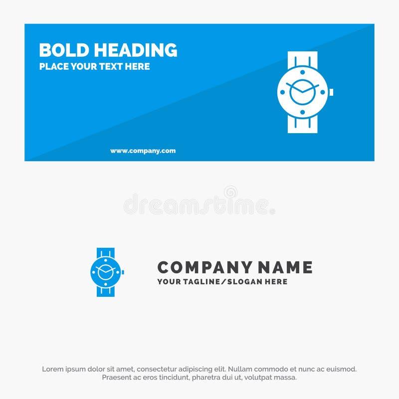 Orologio, Smart Watch, tempo, telefono, insegna solida del sito Web dell'icona di Android ed affare Logo Template illustrazione di stock