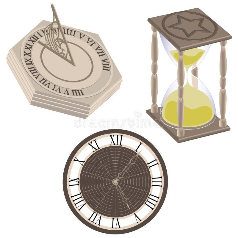 Orologio, sundial, clessidra illustrazione di stock
