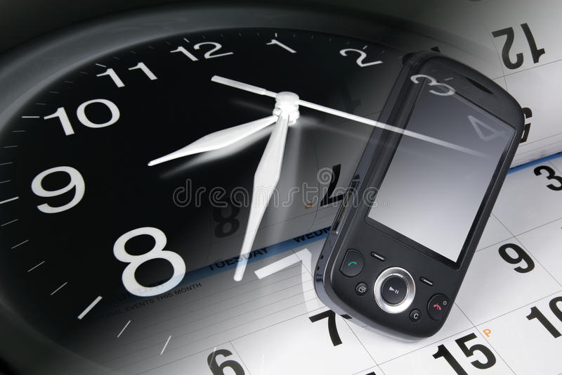 Orologio, telefono astuto e calendario immagini stock libere da diritti