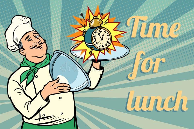 Orologio Tempo per pranzo Cuoco unico con il vassoio con il coperchio royalty illustrazione gratis