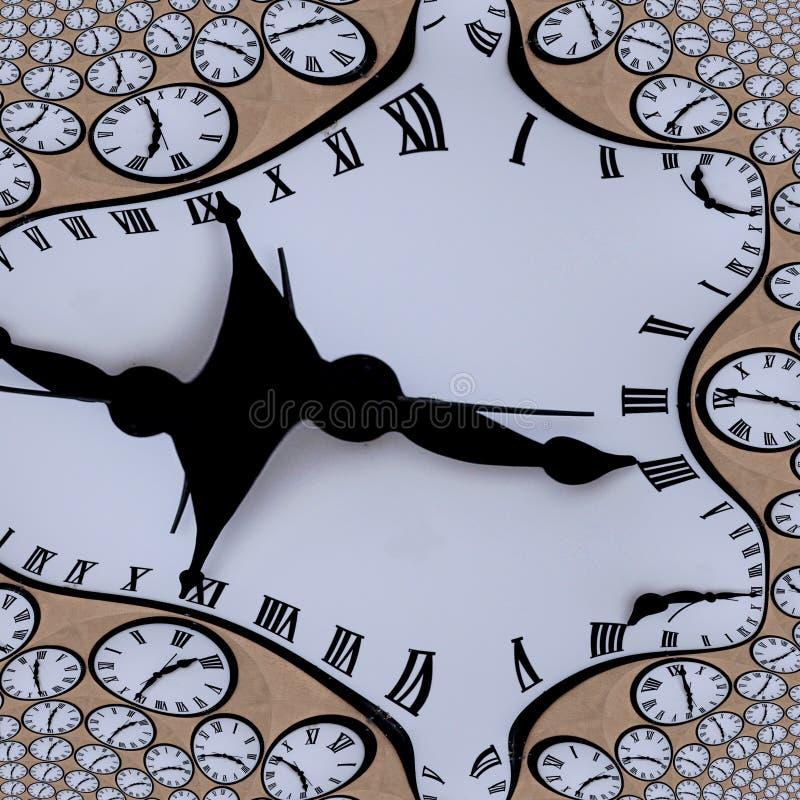 Orologio torto tempo con struttura astratta di numeri romani royalty illustrazione gratis