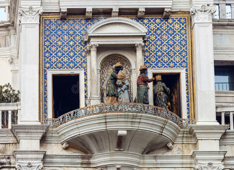 ` Orologio, Venedig, Italien för dell för klockatorn eller Torre arkivfoto