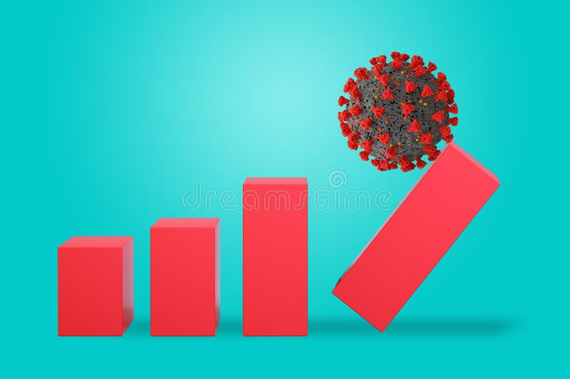 Coronavirus covid-19 crashes statistics and is ready to explode like a bomb. Concept of dangerousness. cyan background. Oronavirus covid-19 crashes statistics royalty free stock photos