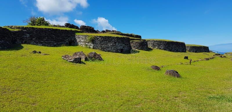 Orongo,复活节岛,智利礼仪村庄  库存图片