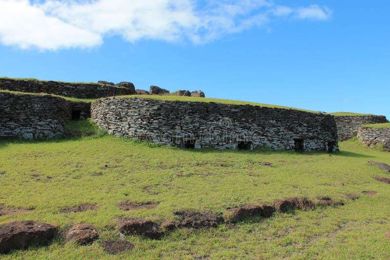 Orongo, Rapa Nui仪式村庄 智利 库存照片