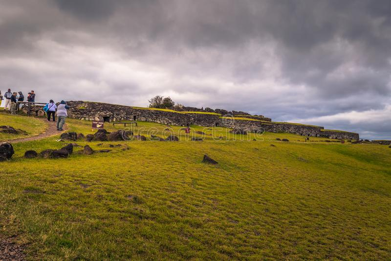 Orongo, Easter Island - July 11, 2017: Bird man village of Orongo, Easter Island. Orongo, Easter Island - July 11, 2017: The Bird man village of Orongo, Easter royalty free stock photos