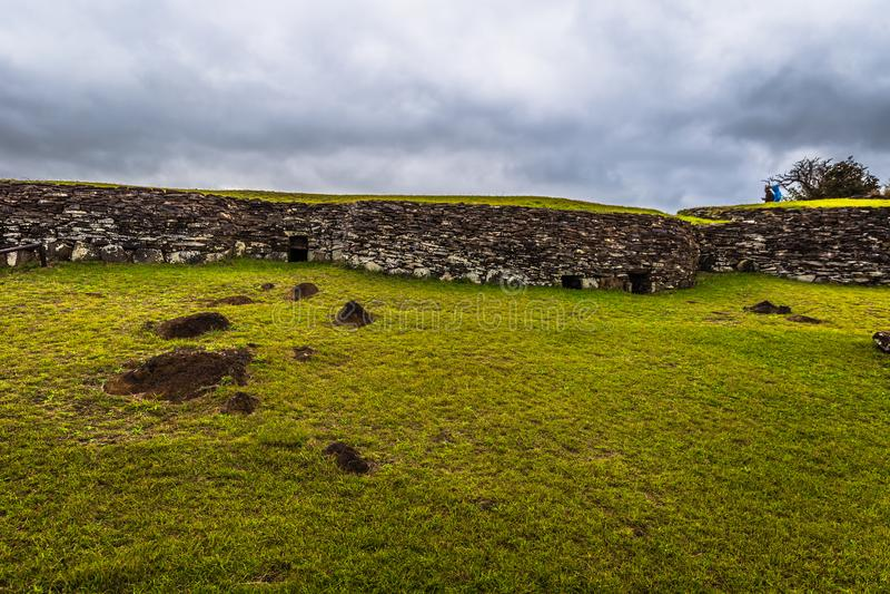 Orongo, Easter Island - July 11, 2017: Bird man village of Orongo, Easter Island. Orongo, Easter Island - July 11, 2017: The Bird man village of Orongo, Easter stock photos