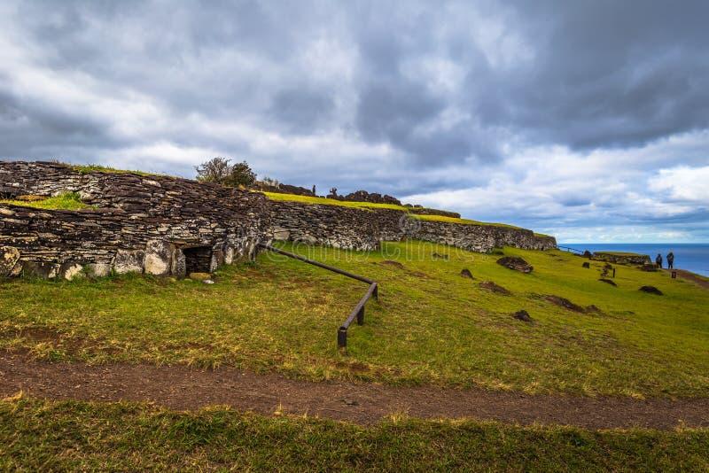 Orongo, Easter Island - July 11, 2017: Bird man village of Orongo, Easter Island. Orongo, Easter Island - July 11, 2017: The Bird man village of Orongo, Easter stock photography