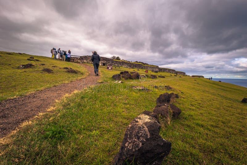 Orongo, Easter Island - July 11, 2017: Bird man village of Orongo, Easter Island. Orongo, Easter Island - July 11, 2017: The Bird man village of Orongo, Easter royalty free stock image