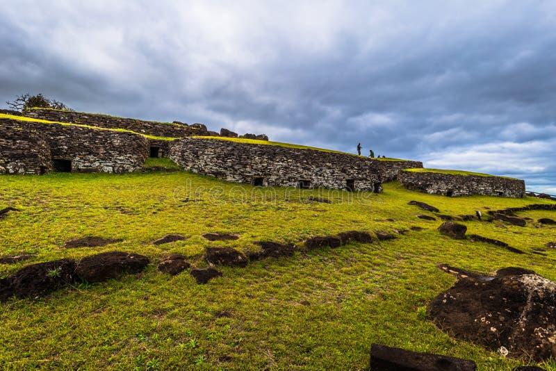 Orongo, Easter Island - July 11, 2017: Bird man village of Orongo, Easter Island. Orongo, Easter Island - July 11, 2017: The Bird man village of Orongo, Easter stock images