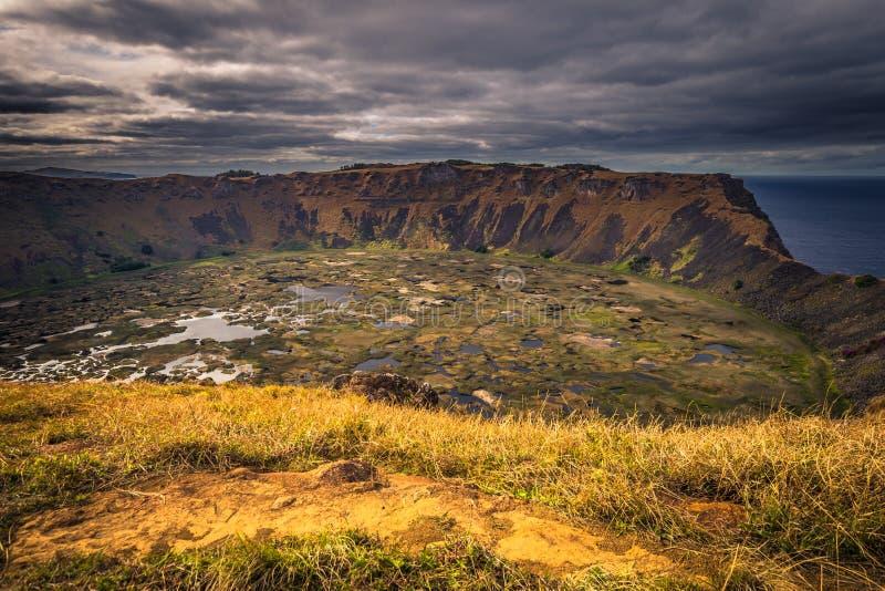 Orongo, Easter Island - July 11, 2017: Ranu Kao volcano crater,. Orongo, Easter Island - July 11, 2017: The Ranu Kao volcano crater, Easter Island royalty free stock image