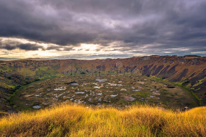 Orongo, Easter Island - July 11, 2017: Ranu Kao volcano crater,. Orongo, Easter Island - July 11, 2017: The Ranu Kao volcano crater, Easter Island royalty free stock images