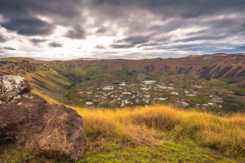 Orongo, Easter Island - July 11, 2017: Ranu Kao volcano crater,. Orongo, Easter Island - July 11, 2017: The Ranu Kao volcano crater, Easter Island stock photos