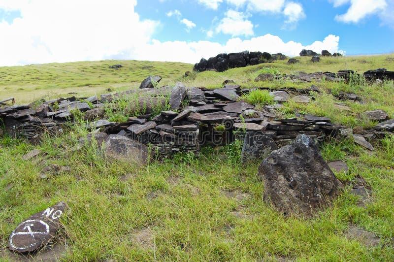 Orongo Stone Houses. Easter Island royalty free stock photo