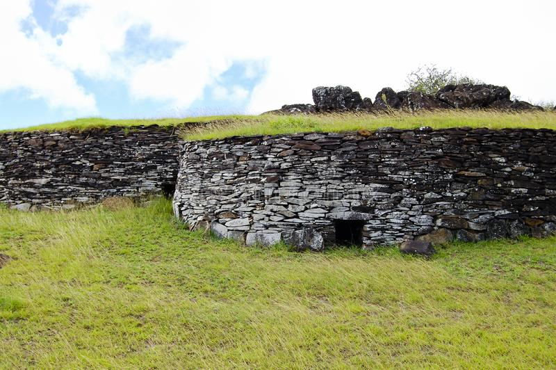 Orongo Stone Houses. Easter Island royalty free stock photos