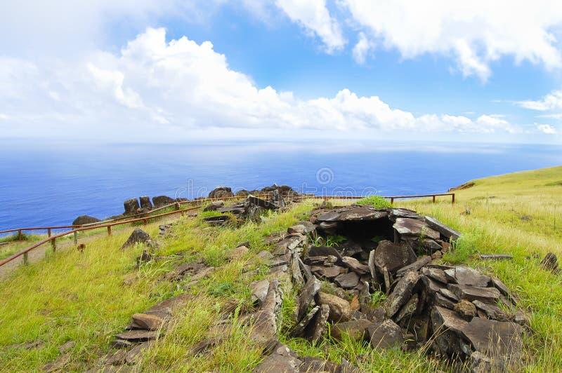 Orongo Stone Houses. Easter Island stock photography