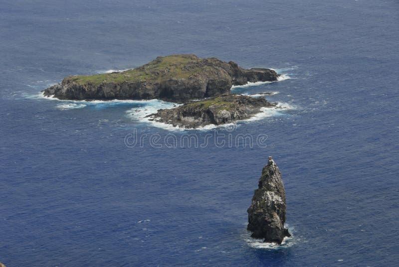 Orongo village. Motu Nui, Motu Iti and Motu Kao Kao, tiny islets below Orongo, nesting places of sooty tern royalty free stock images