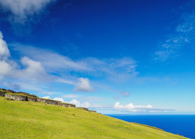 Orongo Village on Easter Island, Chile. Orongo Village, Rapa Nui National Park, Easter Island, Chile stock photos