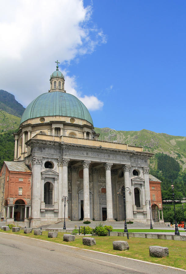 Oropa sanctuary facade. Famous Oropa sanctuary facade , holy mountain in north-west Italy stock photo