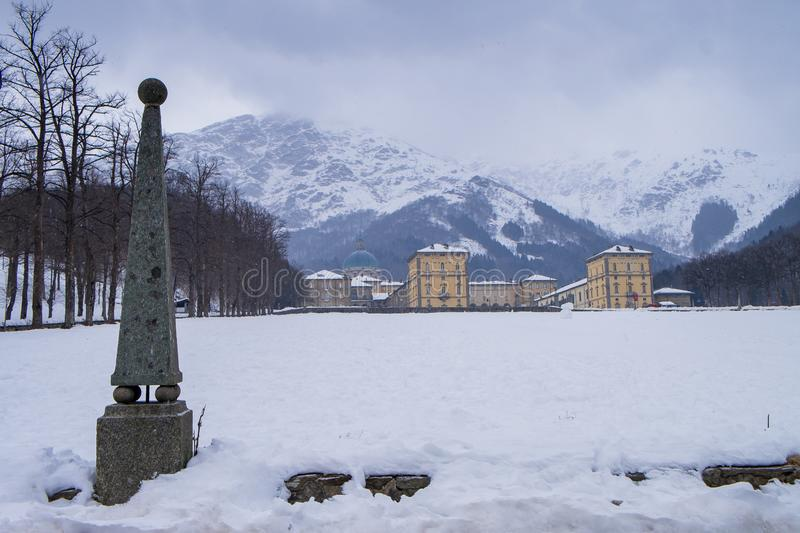 Oropa Sanctuary, Piedmont - Italy. Oropa Sanctuary during winter with snow, Biella province, Piedmont, Italy, Unesco heritage royalty free stock image