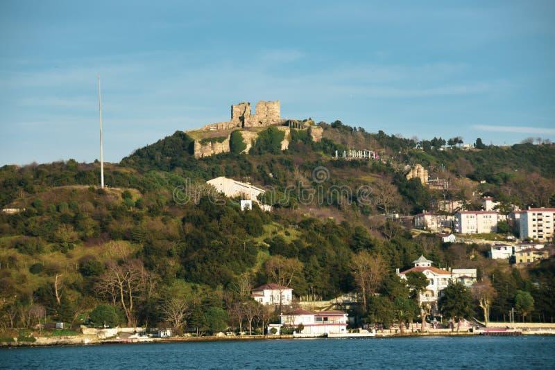 Oros Castle, Bosphorus Anatolian Side, Anadolu Kavagi, Istanbul Turkey. Bosphorus royalty free stock image