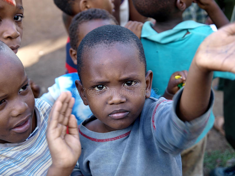 Orphan boys in Africa stock image