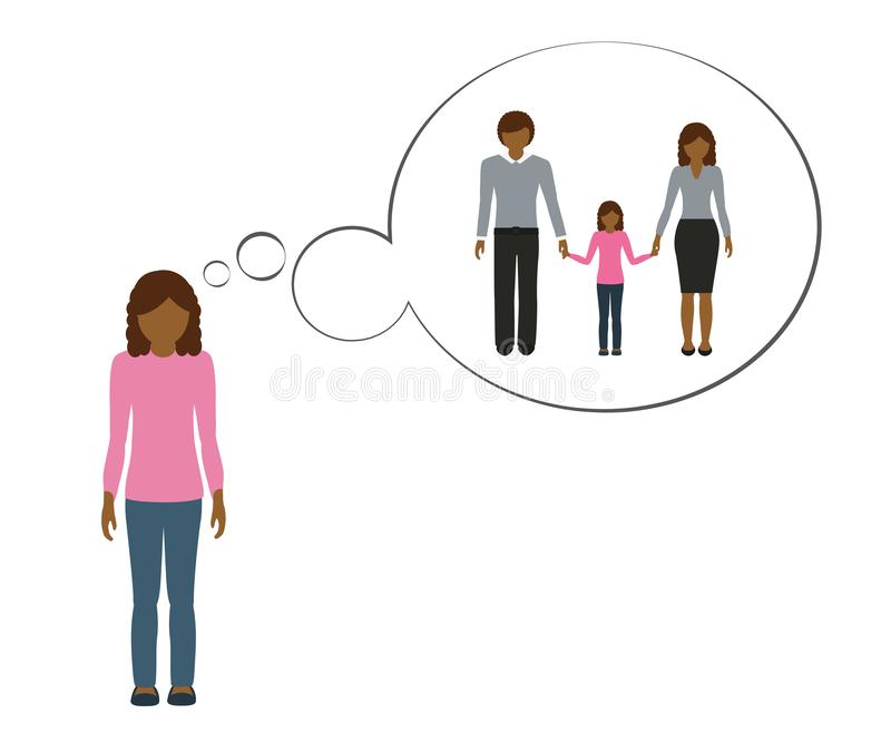 Orphan girl is thinking about her family with mother and father. Vector illustration EPS10 vector illustration