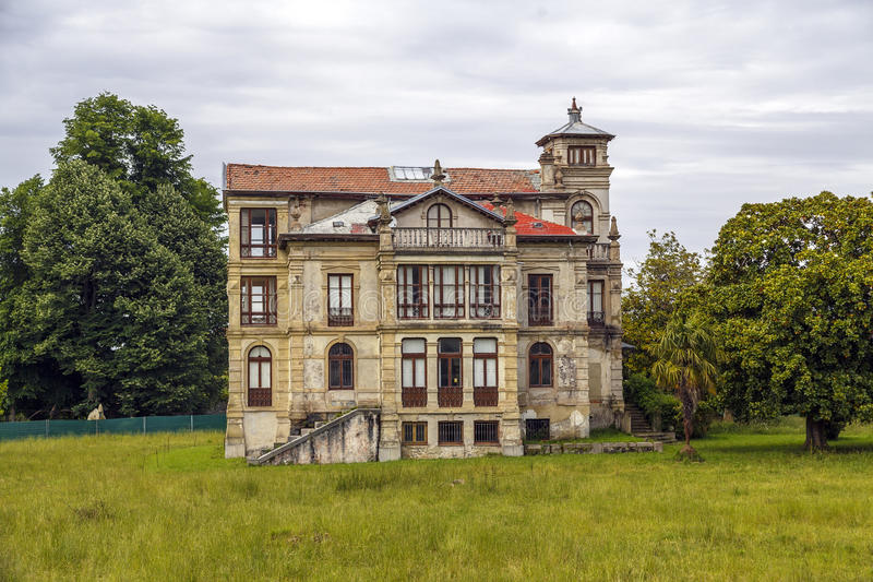 The orphanage in Llanes. Asturias Spain. Mansions of those who came to make their fortunes to the Americas stock photos
