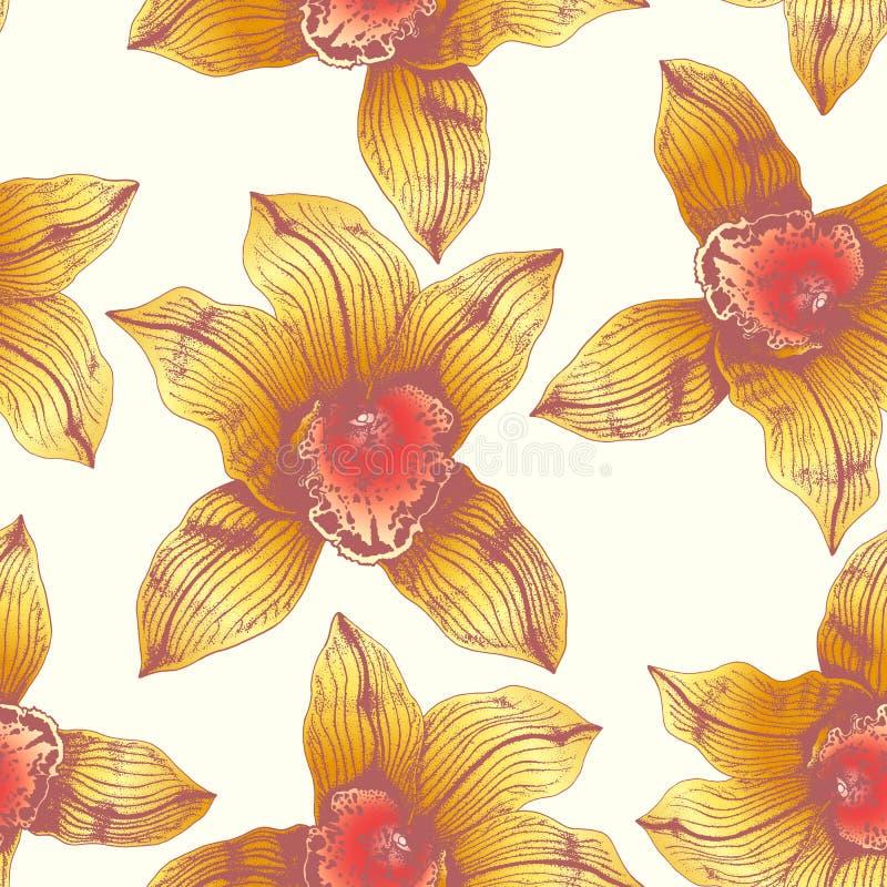 Orquídea amarilla maravillosa del modelo inconsútil del vector a mano en gráfico y real-estilo al mismo tiempo Colores saturados stock de ilustración