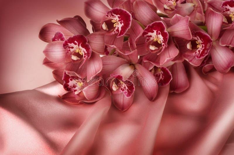 Orquídea e seda foto de stock royalty free