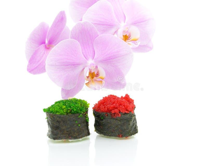 Orquídea e sushi com o caviar isolado no fundo branco foto de stock