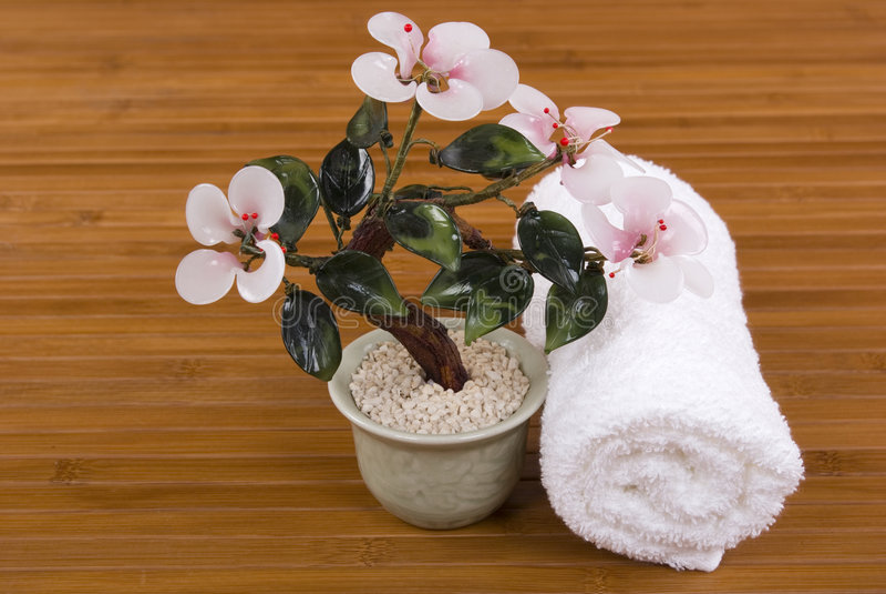 Orquídea e toalha imagens de stock royalty free