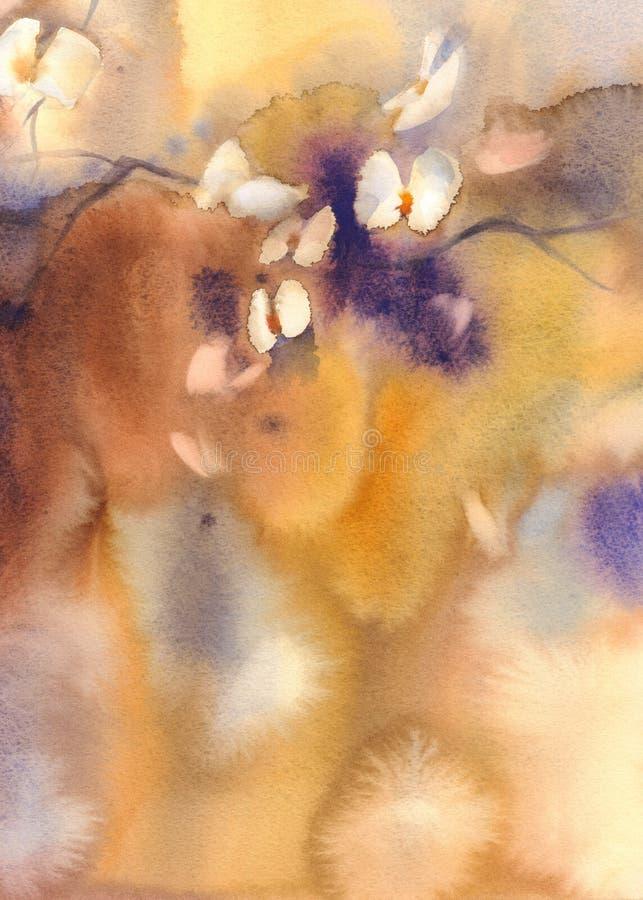 Orquídeas brancas na aquarela amarela ilustração royalty free