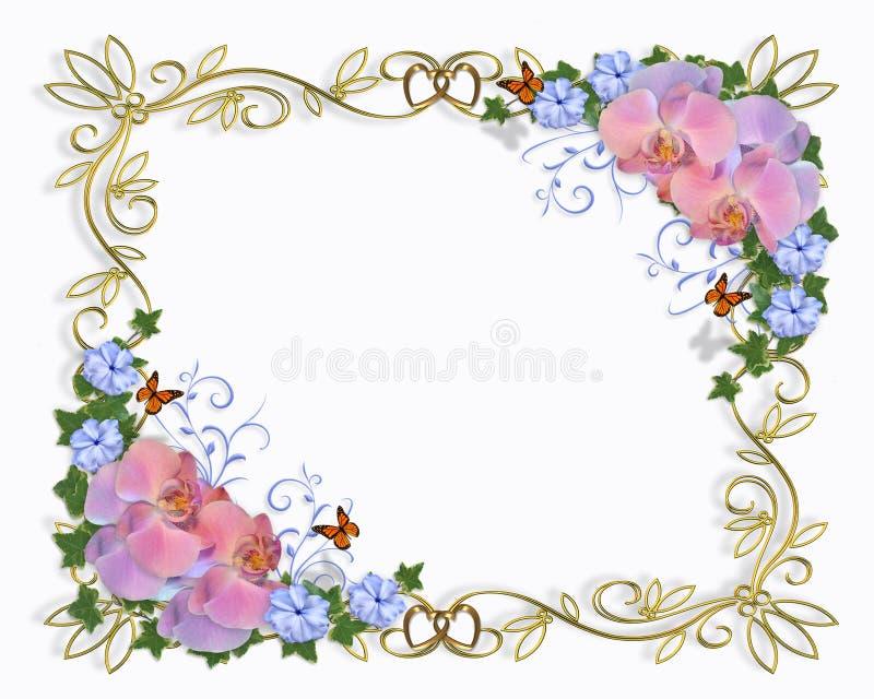 Orquídeas da beira do convite do casamento ilustração do vetor