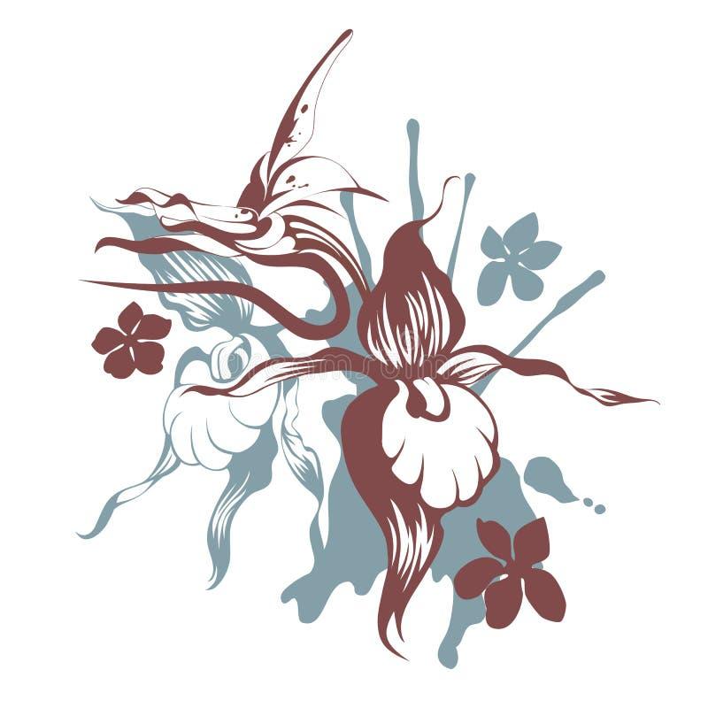 Orquídeas de Grunge ilustração do vetor