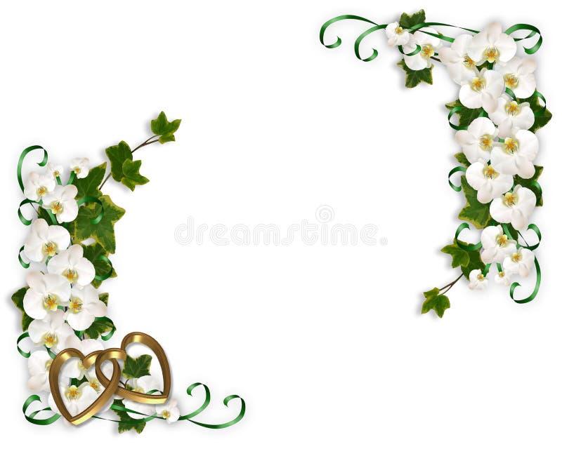Orquídeas e convite do casamento da hera ilustração royalty free