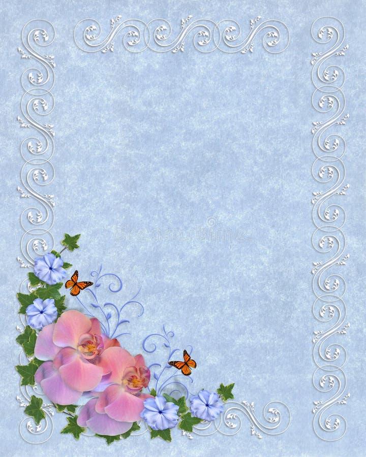 Orquídeas en modelo azul del pergamino stock de ilustración