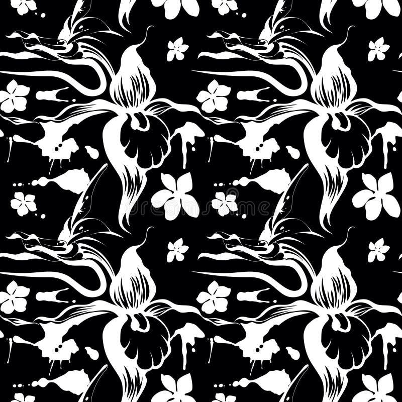 Orquídeas no vaso oriental no preto ilustração do vetor